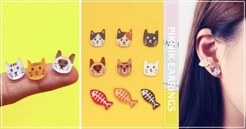 貓奴們買起來!超萌手繪喵星人耳環♥魚刺+6款喵喵超升火~剁手都要帶回家!