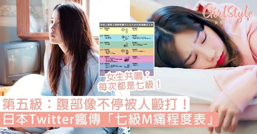 第五級:腹部像不停被人毆打!日本Twitter瘋傳「M痛程度表」,女生共鳴:每次都是七級!