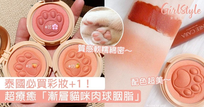 泰國必買彩妝+1!超療癒「漸層貓咪肉球胭脂」,小肉球配上淡淡胭脂色瞬間被治癒了~