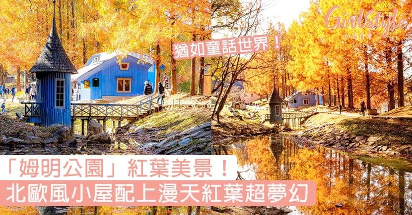 「姆明公園」紅葉美景超夢幻!日本曙光孩子森林公園,北歐小屋配上漫天紅葉〜