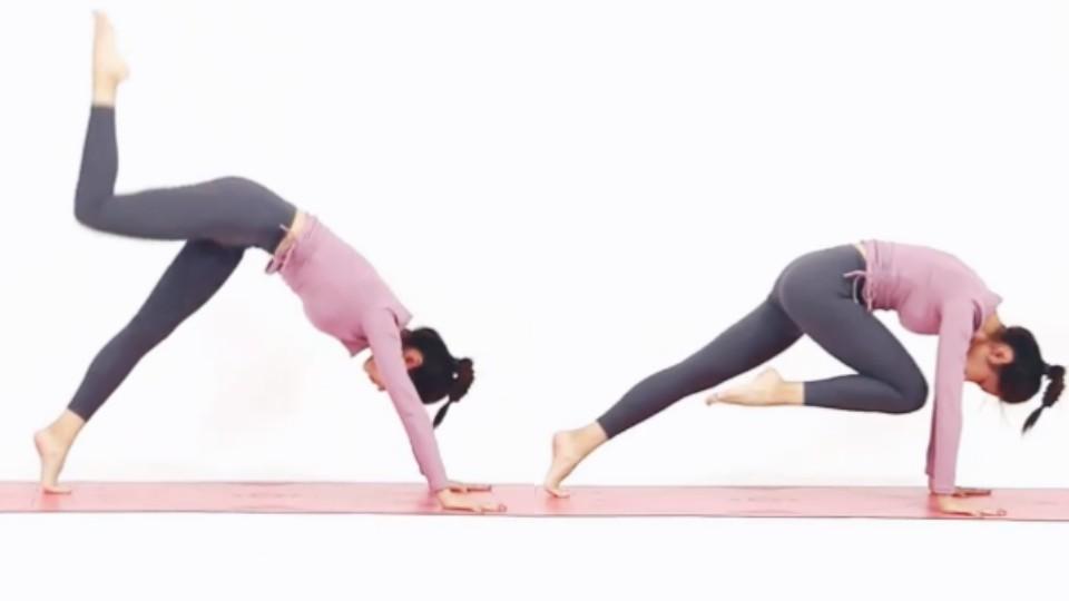 踢完腿後腿不落地,再將腿慢慢再次往手肘方向縮,另一隻落地的腳就同時腳尖踮起,即是重覆一次
