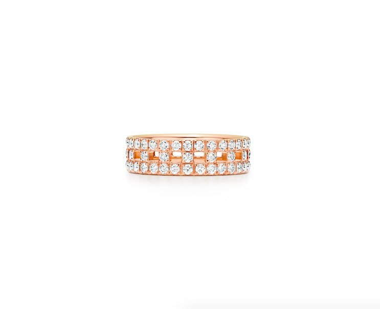 TIFFANY & CO. Tiffany T True 18k玫瑰金密鋪鑲鑽寬版戒指 HK$47,300
