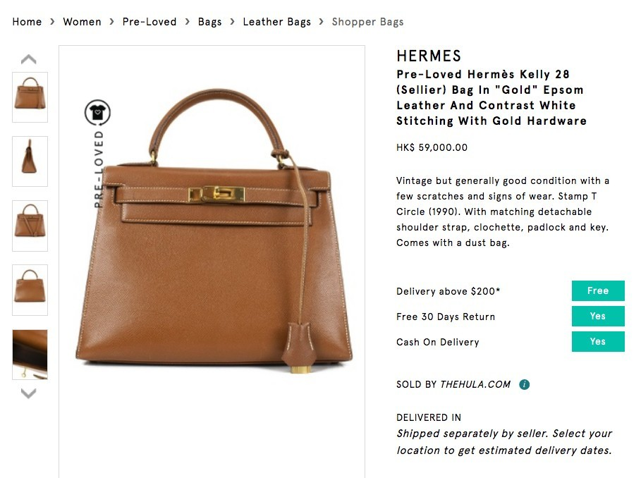 ZALORA二手名牌手袋 Hermès Kelly 28 Bag