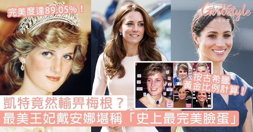 【皇室成員】戴安娜王妃奪最完美臉蛋!按古希臘黃金比例選「最美皇室」,凱特竟然輸畀梅根?
