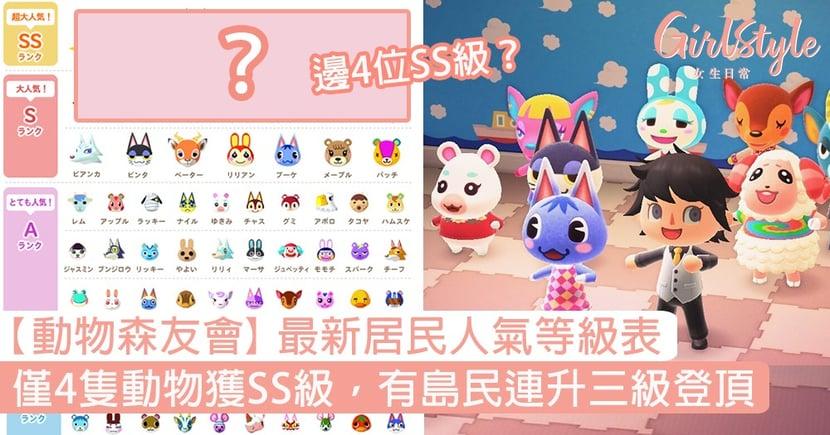 【動物森友會】最新居民人氣等級表!僅4隻動物獲SS級,有島民連升三級登頂!