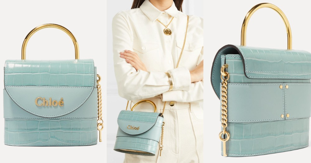 CHLOÉ Aby Lock small croc-effect leather shoulder bag HK$5,481