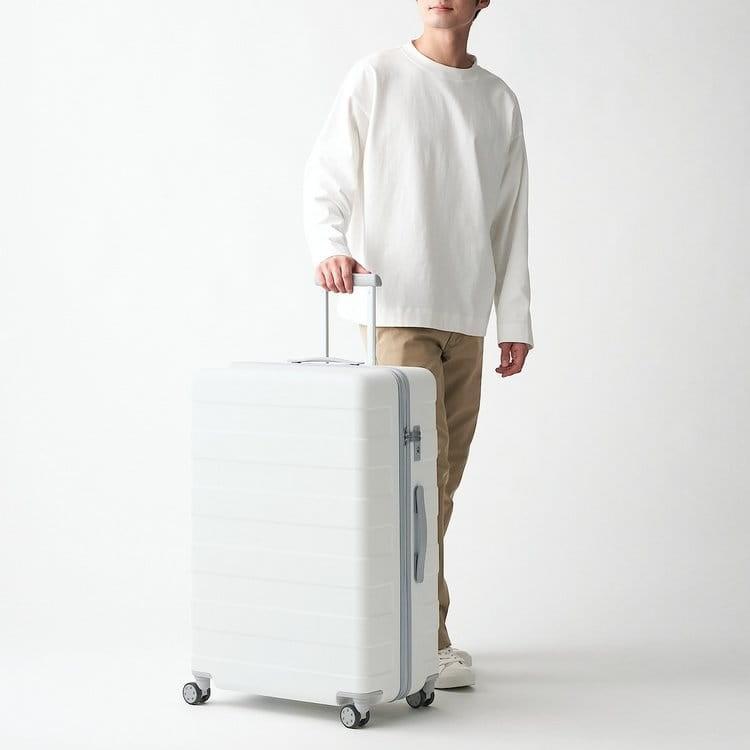 Muji純白行李箱, Muji行李箱, 無印良品行李箱, 白色行李箱, MUJI四輪硬殼止滑拉桿箱