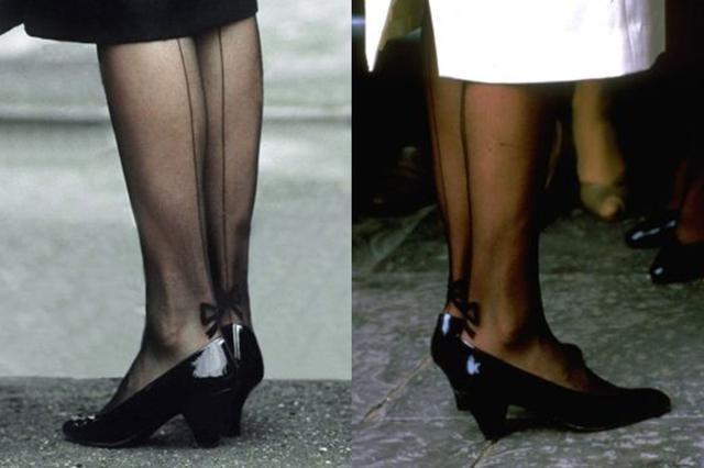 除了彩色的絲襪,原來紋身絲襪也是戴安娜王妃的一大象徵~還記得早幾年曾流行過紋身絲襪,原來早在戴妃年代時,就已經在穿了!