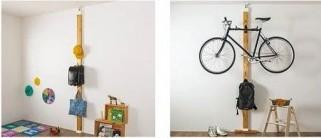 單車,吉他這些大型的物件,不是整天都會用的東西也可以掛牆上。廁所和廚房這些地方也可以多用這個方法,例如牙刷,鍋子等等。