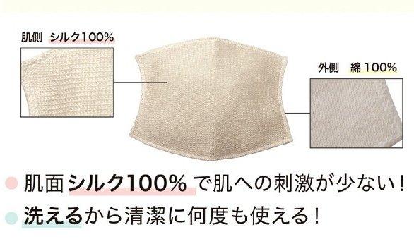 除了妝要美之外,日本女生也很重視皮膚的保養跟健康,這一款口罩內層是又100%蠶絲製作,可以解決因戴口罩而皮膚乾燥的問題。