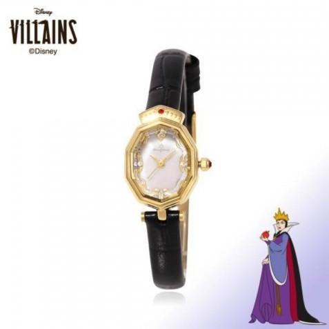 邪惡王后的手錶款超美,其實白雪系列的錶款側面看,錶面是呈十角形的立體錶面。超像故事裏的鏡子,設計超有心思!邪惡王后的款式則是黑色皮革錶帶,錶面有超典雅的金色挑花,錶上還有高貴王冠呢!