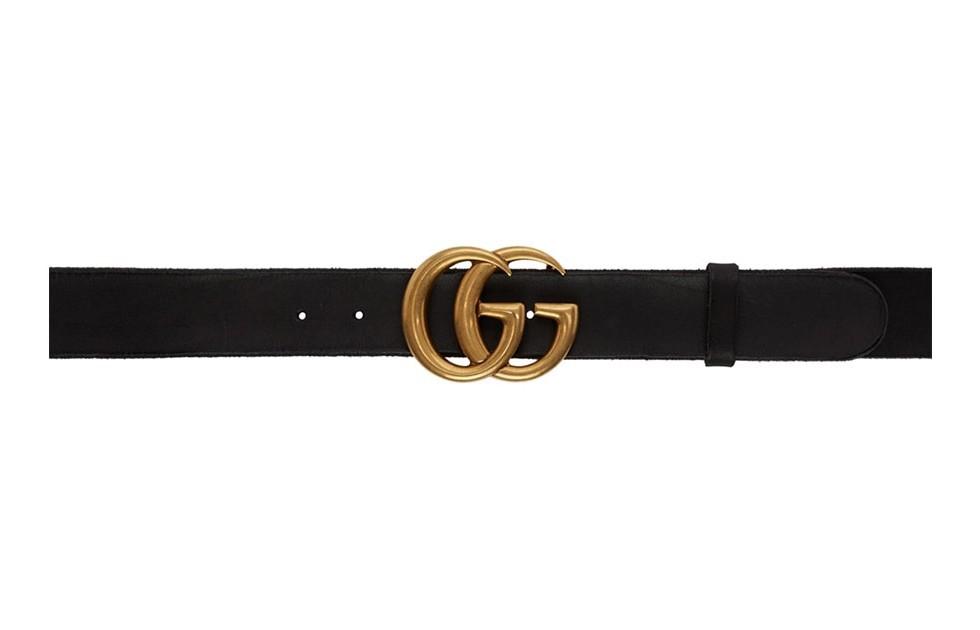 【名牌飾品】GUCCI Black Toscano Leather GG Belt