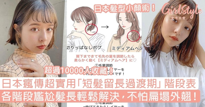 日本瘋傳「短髮留長過渡期」階段表!各階段尷尬髮長輕鬆解決,不怕扁塌外翹!