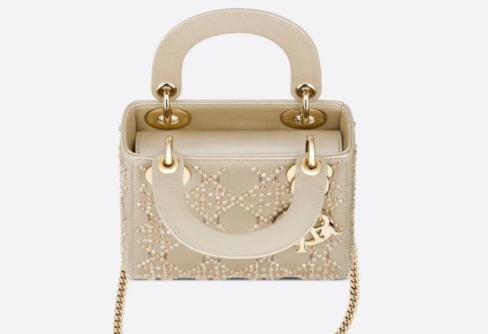 Dior手袋價錢款式推介/Lady Dior白金色圓珠刺繡手袋