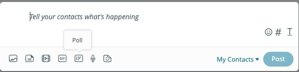 【MeWe移民攻略-Facebook】大家可以出帖文或是已加入的群組中開啟Poll的投票功能,只要按下GIF 右邊的icon就可以新增投票了!