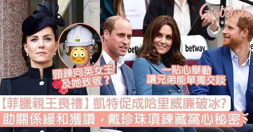 【菲臘親王喪禮】英媒指凱特王妃一舉動促成哈里威廉兄弟破冰?珍珠項鍊藏窩心秘密?