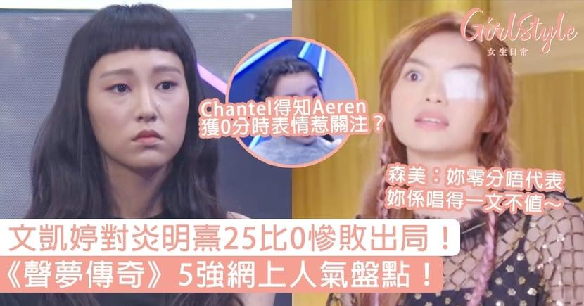 《聲夢傳奇》5強網上人氣盤點!文凱婷對炎明熹25比0慘敗出局,Chantel表情惹關注?