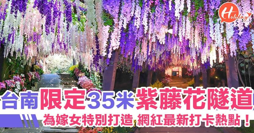 台南限定隱藏版景點!35米長紫藤花隧道 無論日夜都咁靚