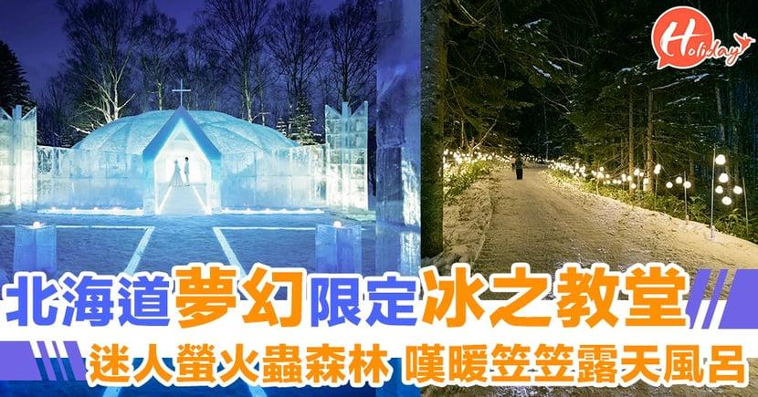 夜遊北海道!極夢幻冰雪國度!酷似螢火蟲森林電影場景~超長冰滑梯任你瀡~