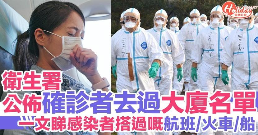 附完整名單!衛生署公佈香港確診感染者逗留大廈、搭過航班/火車/船名單