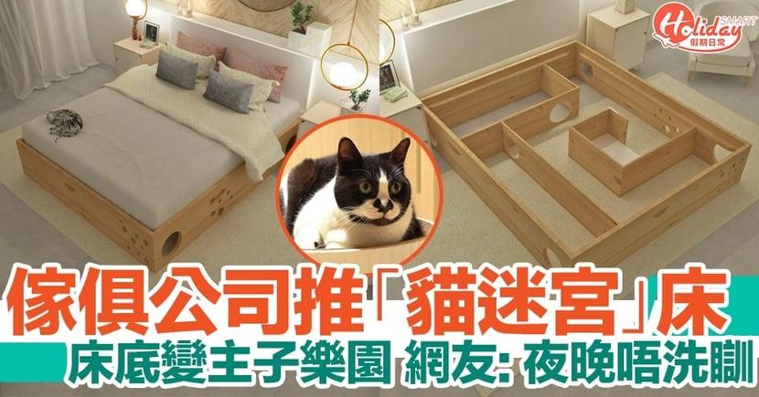 傢俱公司推出「貓迷宮」床!讓床底變成主子樂園!網友:夜晚唔洗瞓!