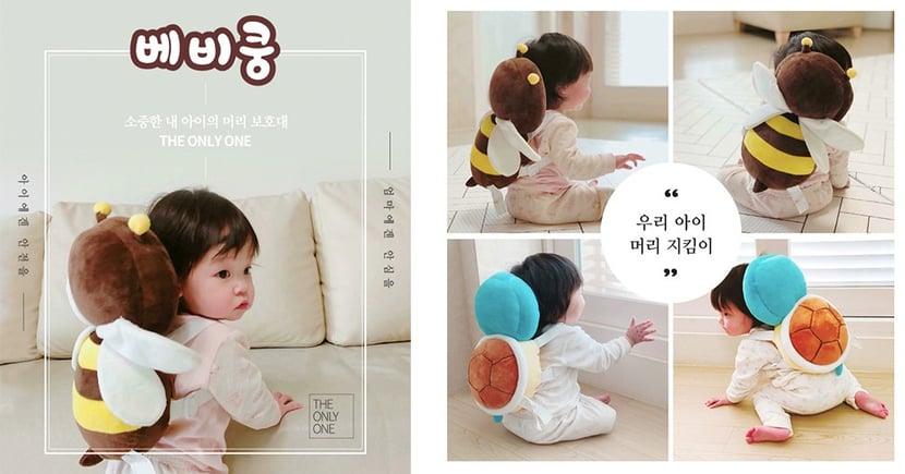 韓國瘋傳超可愛幼兒用品♥ 傑尼龜X小蜜蜂造型背包枕不只萌度爆表,還可以保護寶寶跌倒不受傷~
