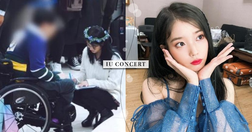 IU超暖舉動♥演唱會親自下台訪問「高齡歌迷」,蹲著為行動不便粉絲簽名~